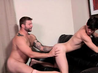 Tattoo twinks anal sex with facial cum