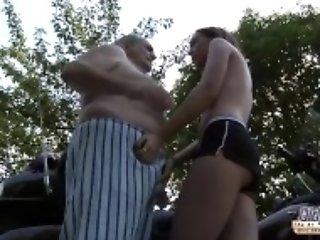 """Grandpa fucks young pussy so tight and wet ready for cum"""