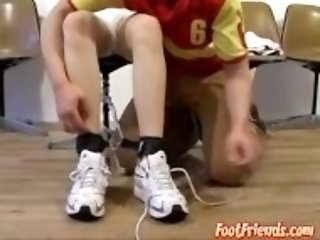 """Young gay Sean bound to chair by foot fetish tickler"""