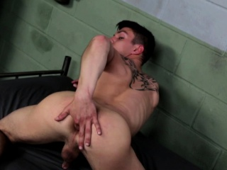 Athletic solo twink jerking after workout