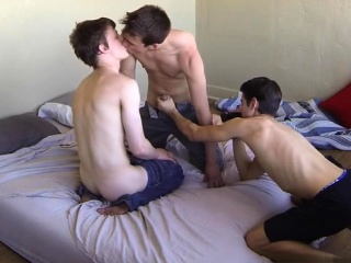 Brunette twink threesome and cumshot