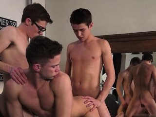 Hot twink threesome and cumshot