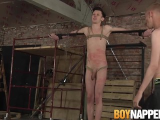 Rope tied sub twink whipped and roughly fucked by young dom